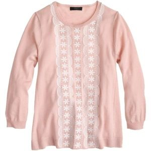 J. Crew Pink Embroidered Sweater
